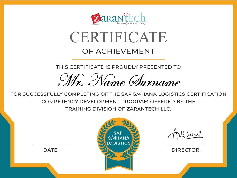 SAP S4 HANA Logistics Training-Certificate|ZaranTech