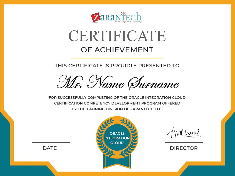 Oracle Integrtaion Cloud Training-Certificate ZaranTech