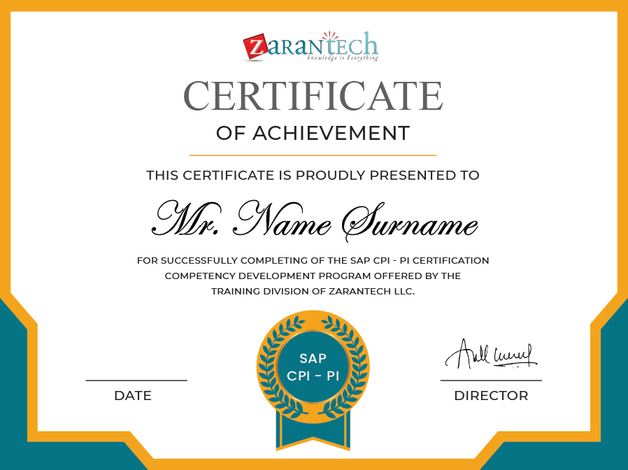 Oracle Integrtaion Cloud Training-Certificate|ZaranTech