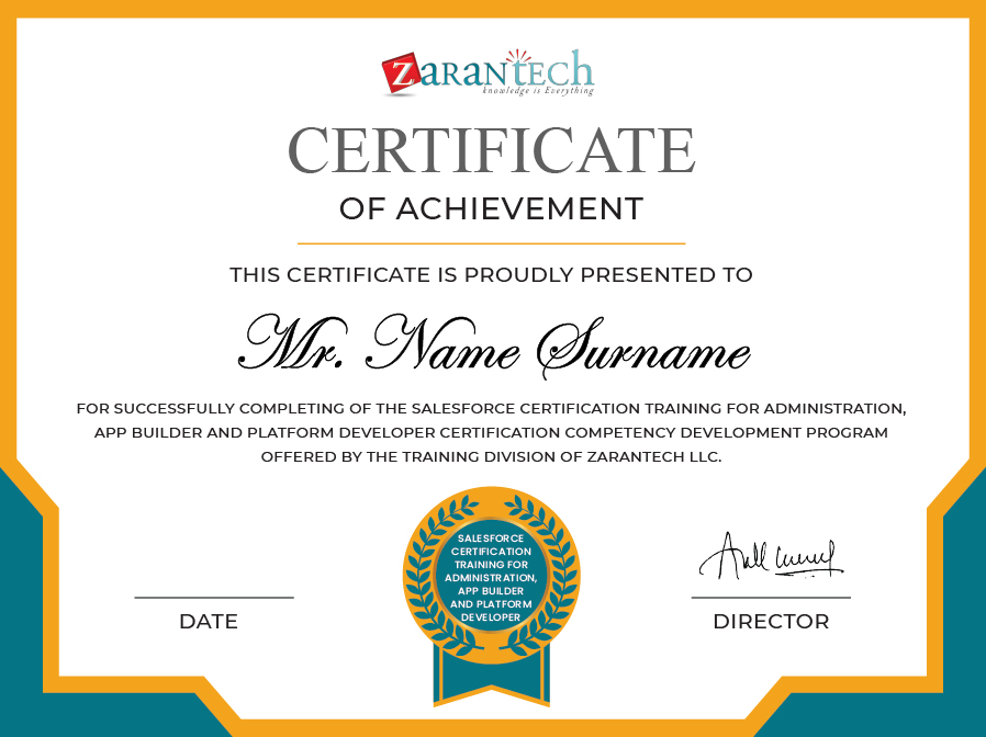 Salesforce certification-Certificate|ZaranTech