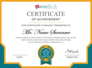 SAP Successfactors EC,PM,GM Training-Certificate(Sample)|ZaranTech