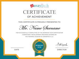 Workday HCM Training-Sample Certificate|ZaranTech
