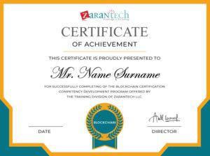 Blockchain Training-Certificate sample|ZaranTech