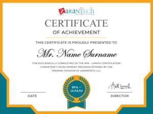 RPA-UI Path Training-Certificate|ZaranTech