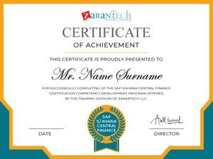 SAP S4 HANA Central Finance Training-Sample Certificate ZaranTech