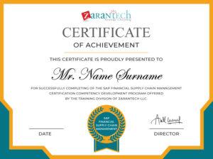 SAP FSCM Training-Certificate -Sample ZaranTech