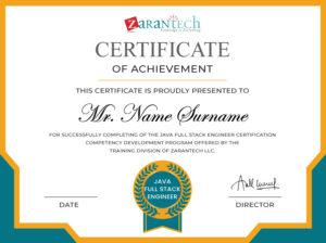 Java Full Stack Engineer Training-Certificate(sample)|ZaranTech