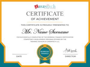 Workday Finance Training-Sample Certificate|ZaranTech
