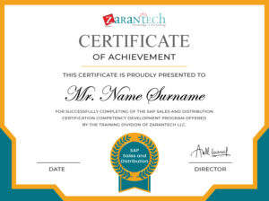 SAP SD Training-Sample Certificate ZaranTech