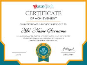 SAP Native HANA Training_Sample Certificate|ZaranTech