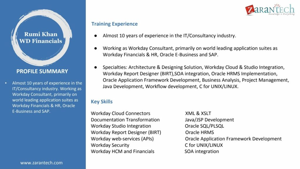 Workday Trainer Profile - Rumi Khan