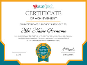 SAP GRC Training-Sample Certificate ZaranTech